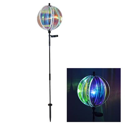"Iridescent 11"" Gazing Ball Spinner with Solar Light"